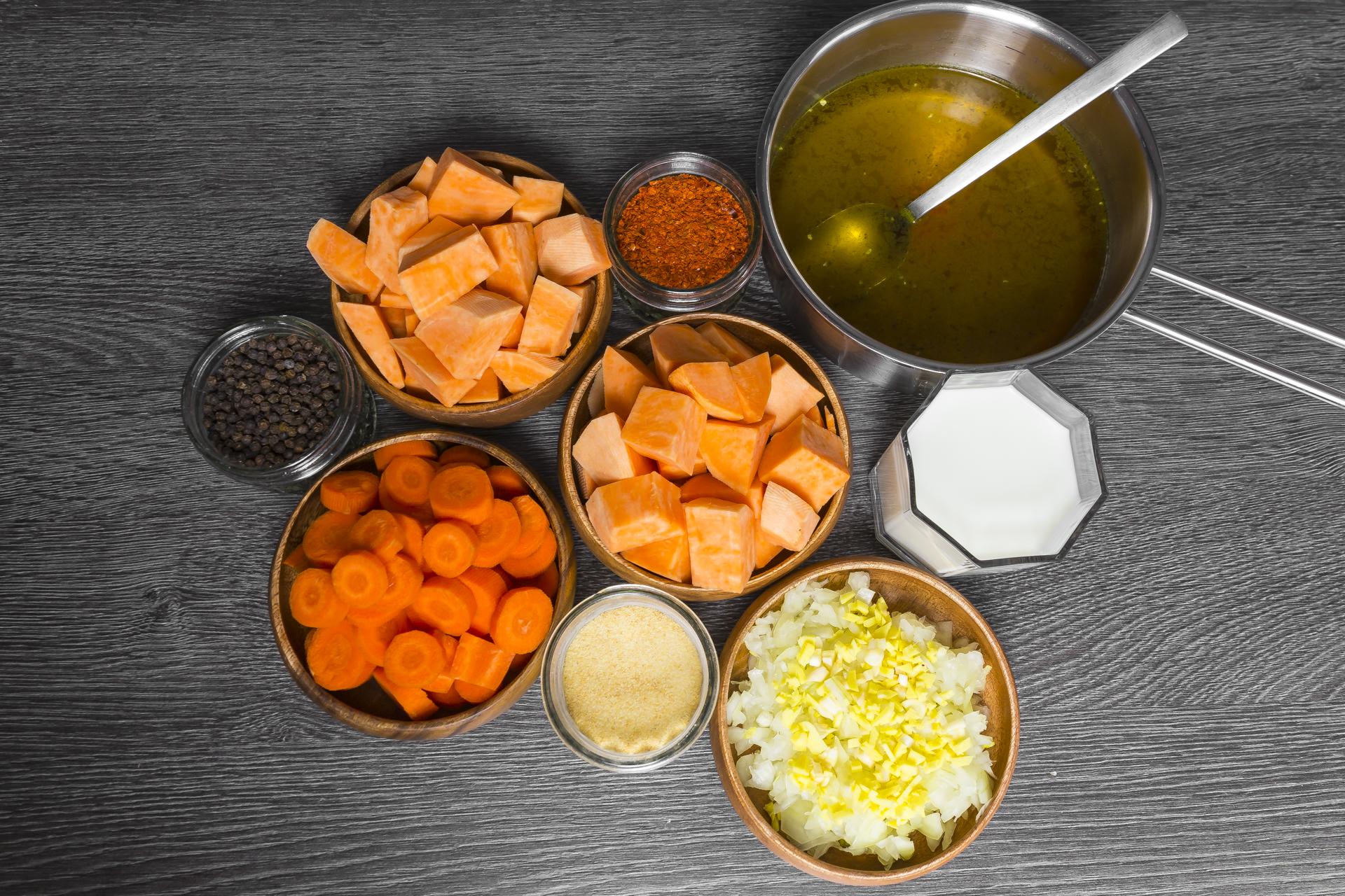 zutaten für die süßkartoffelsuppe
